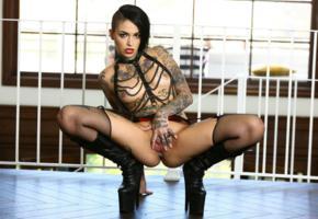 leigh raven, brunette, fetish, naked, garter belt, mesh stockings, high heels, tits, pierced nipples, trimmed bush, pussy, spread labia, ass, spread legs, chains, tattoos, hi-q