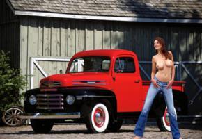 ashley, brunette, truck, mercury, topless, jeans, big tits, nipples, outdoors, smile, hi-q