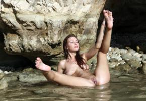 cecelia, galina a, geraldine, sandy, brunette, outdoors, beach, wet, naked, tits, nipples, shaved pussy, labia, spread legs, hi-q