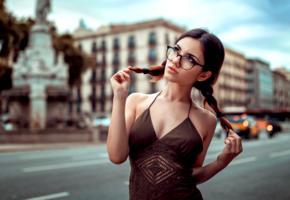 model, pretty, babe, brunette, pigtails, glasses, sensual lips, dress, outdoors, 4k, depth of field, d gonzalez