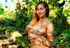 allegra, boobs, smile, woods, tanned, tits
