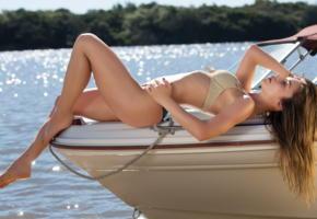 lilii, guerlain, boat, sexy legs, lake
