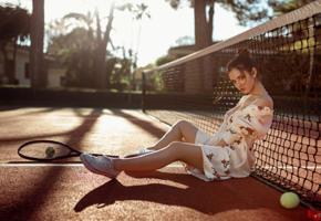 delaia gonzalez, model, brunette, spain, dress, tennis racket, tennis court