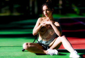 delaia gonzalez, model, brunette, spain, tits, boobs, tennis racket, tennis court