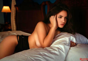 delaia gonzalez, spanish model, sexy babe, brunette, bed, tits, topless, sexy