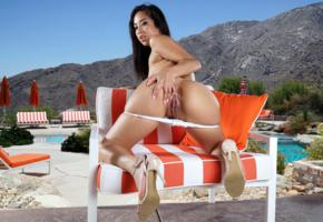 mila jade, brunette, pool, chair, naked, pussy, labia, ass, high heels, hi-q