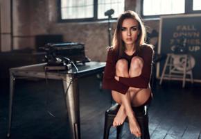 victoria vishnevetskaya, model, pretty, babe, brunette, sensual lips, legs, graceful feet, chair, 4k, georgy chernyadyev studio, telephone, typewriter