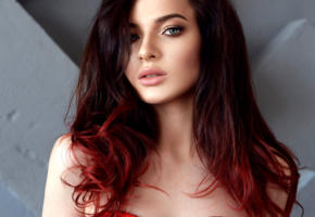 model, pretty, babe, green eyes, redhead, russian, sensual lips, juicy lips, face, 4k