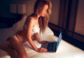 ekaterina zueva, model, pretty, babe, blonde, russian, white bra, bra, white panties, panties, lingerie, laptop, 4k, erotic, lingerie series