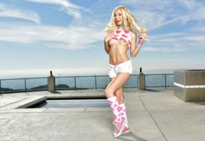 kenzie reeves, blonde, outdoors, topless, top, shorts, small tits, perky nipples, knee socks, running shoes, smile, hi-q
