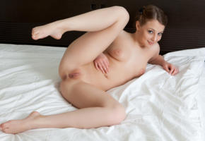 nikia a, naked, sexy, bed, model, hi-q, pussy, shaved pussy, all natural, brunette, legs, smile, braid, boobs, tits, breast, hand, feet