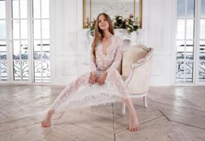 nimfa, model, pretty, babe, blonde, long hair, blue eyes, russian, dress, see through, armchair