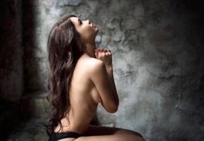 ekaterina ermakova, model, pretty, babe, dark hair, russian, topless, panties, 4k