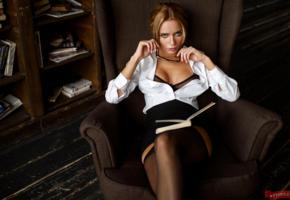 ekaterina zueva, russian, model, juicy lips, sexy secretary, perfect body, couch, stockings, low qiality