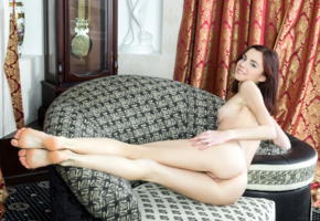 aurmi, model, brunette, smile, sweet, fyrom, republic of macedonia, redhead, tits, boobs, back, pussy, shaved pussy, labia, anus, bum, ass, legs, beautiful legs, long legs, graceful feet, sofa, nude