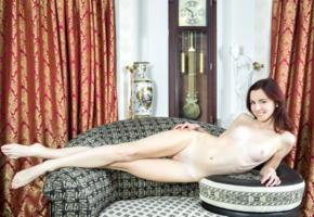aurmi, model, redhead, smile, sweet, fyrom, republic of macedonia, tits, pussy, shaved pussy, slim, beautiful legs, long legs, sofa, nude