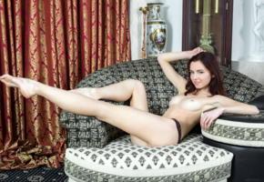 aurmi, model, redhead, smile, sweet, fyrom, republic of macedonia, tits, panties, beautiful legs, long legs, graceful feet, sofa