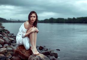 victoria vishnevetskaya, model, pretty, babe, brunette, russian, dress, rain, legs, graceful feet, 4k, lake, nature
