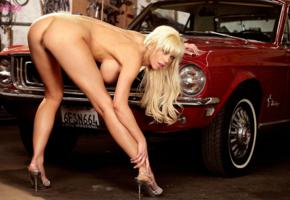 tanya james, ass, pussy, heels, car, blonde, sexy, boob, garage, classic, nude, boobs, big tits