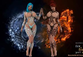 fantasy, art, 3d, ice, fire, girls, 3d art, big boobs, huge tits, gorgeous, enormous boobs, artwork, super boobs, own work, virtual babes, sexy legs
