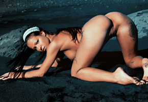 melisa mendiny, doggy, pussy, boobs, black sand, shaved pussy, tanned, beach, tits