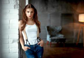 elina loseva, model, pretty, babe, brunette, ponytails, sensual lips, shirt, jeans, georgy chernyadyev studio, lamp, chair