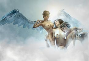 fantasy, art, 3d, heaven, virtual babes, angel, wings, 3d art, 3 babes, big boobs, sexy, big breasts, nipples, nude, artwork, passion, art by balassa