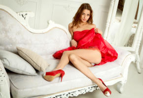 layna, model, pretty, babe, brunette, russian, smile, dress, legs, platform high heels, stilettos, sofa, sasha p
