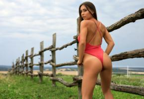 laureen, brunette, outdoors, fence, swimsuit, ass, tanlines, hi-q