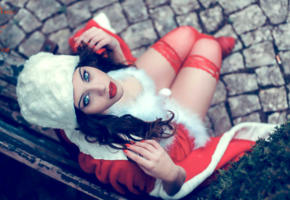 model, brunette, blue eyes, sensual lips, santa, christmas, xmas, 4k, red stockings, non nude, stockings
