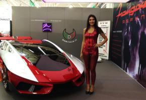 asfane, car, italy, girl, smile, red dress, cars show, red car