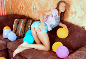 viola bailey, luftballons, jeans skirt, sofa, skirt, ass, non nude