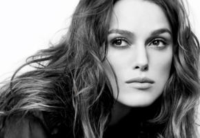 keira knightley, actress, british, black and white, monochrome, face, 4k, portrait