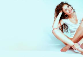heidi romanova, smile, buttomless, white shirt, legs, redhead, heidi r, vanessa