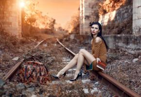model, brunette, russian, dress, legs, stilettos, bag, railway, 4k, depth of field, railroad, rails, railline, tracks