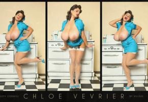 chloe vevrier, model, brunette, big boobs, huge tits, busty babe, enormous boobs, smile, beauty, vintage, hairstyle, collage, giant tits, super boobs, busty goddess, own work, pin up style