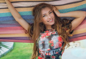 lyuda, alex lynn, long hair, smile, brunette, hammock