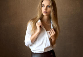 model, pretty, babe, blonde, blue eyes, sensual lips, blouse, 4k, russian