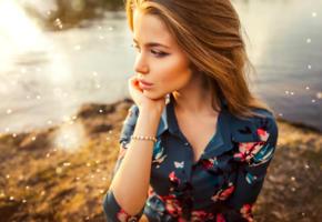 alexandra danilova, model, pretty, babe, russian, sensual lips, 4k, face, bracelet