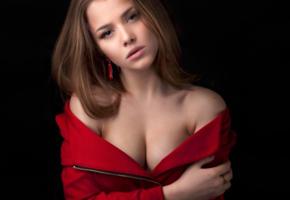 alexandra danilova, model, pretty, babe, russian, sensual lips, cleavage, 4k