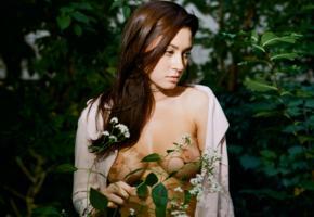 rimi hazarika, topless, boobs, big boobs, busty, nipples, flower, garden, outdoor