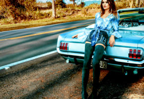 model, pretty, brunette, blue eyes, car, chevrolet, corvette, vintage car, cabrio, road