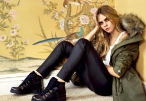 cara delevingne, top model, actress, green eyes, british, coat, leather pants, boots