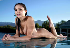 ariana marie, model, brunette, tits, boobs, wet, water, pool, outdoors, 4k, nude