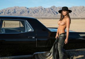 chelsie aryn, boobs, car, outdoors, hat, model, nipples, jeans, jacket, mountains, blue sky, playmate, playboy, black car, cadillac, 1967 cadillac deville, cadillac deville