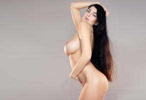 lucy, lucy li, lucy lee, model, brunette, big boobs, big breasts, sexy, big tits, nude, body, long hair, busty babe, background