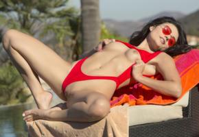 adria rae, brunette, outdoors, bikini, naked, small tits, shaved pussy, labia, spread legs, sunglasses, hi-q, aspen reign