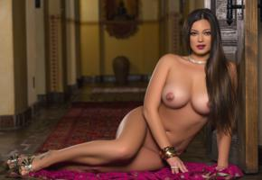 chelsie aryn, nude, playmate, long hair, sexy, pierce nipples, necklace, lipstick, beauty, tanned, tits, boobs, brunette