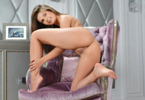 zelda b, zelda, arina b, naked, chair, cushion, sexy, hi-q, shaved pussy, pussy, model, hot, smile, legs, brunette, all natural, gorgeous, beauty, sexy girl