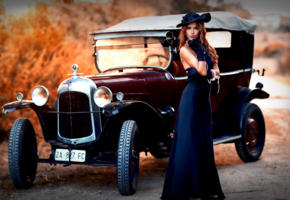 model, pretty, babe, brunette, hat, dress, car, vintage car, depth of field